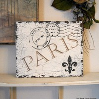 PARIS Postcard with Fleur de lis Shabby by thebackporchshoppe