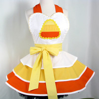 Candy Corn Halloween Apron Womens Sexy Entertaining by dotsdiner