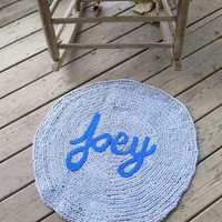 OOAK Upcycled Crochet Round Rug. Custom Name Rug. Made To Order