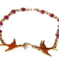 SPARROW LOVE BRACELET / handmade bracelet / ft. gold-plated sparrow charms, swarovski crystals, freshwater pearls & 14 karat gold wire