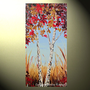 Original Abstract Landscape Painting Autumn Trees Palette Knife Blue Brown Gold Red Fall Birch Trees 48x24&quot; -Christine