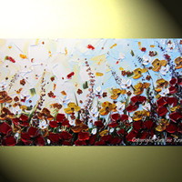 "Original Abstract Painting Landscape Textured Autumn Flowers, Art Palette Knife, Fall Poppy Blossoms Modern Red Blue Gold 24x48"" -Christine"