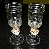 Rustic Chic Mason Jar Wedding Wine Glass Set by Theshabbyshak
