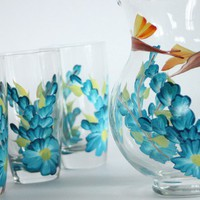 Cerulean blue floral vines Iced Tea set w by JudiPaintedit on Etsy