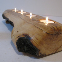 Split log candle holder. Rustic wood candle holder. Tree slice.