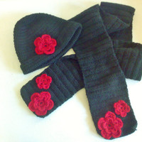 Black Crochet hat and Scarf Set. Red and Black, Scarf,
