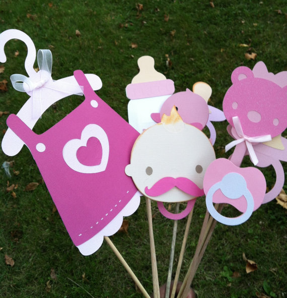 photo booth props pink baby shower from flutterbugfrenzy on etsy