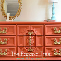 Dresser Custom Order Tangerine Tango Dresser Hollywood Regency meets Spring 2012