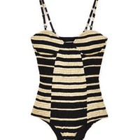 Shakuhachi Striped Shirred Bustier One Piece