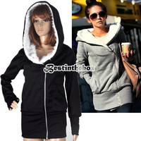 New Womens Long Sleeve Zip Up Tops Hoodie Coat Jacket Outerwear Sweatshirt