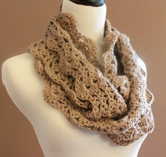 Chunky Crochet Infinity Scarf Lace Thick from OnTheHook on Etsy
