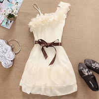One Shoulder Sweet Pleated Party Chiffon Dress #010