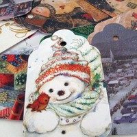 Charming Christmas Gift Tag set of 12 Recycled Past Cards