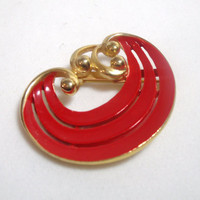 Vintage Jewelry Brooch Pin Red gold enamel 1960s mod retro design costume jewelry