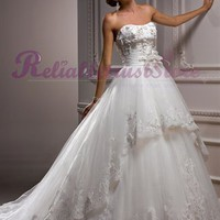 Gorgeous A-line Sweetheart Organza Princess Wedding Dress-$366.99-ReliableTrustStore.com