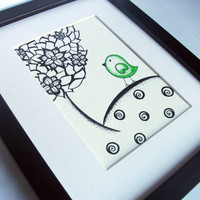 Original Ink Drawing, Illustration, Green Dotty Bird, 5 x 7