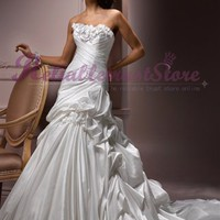 Fascinating A-line Sweetheart Satin Beach Wedding Dress-$348.99-ReliableTrustStore.com