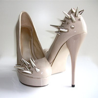 Asymmetrical Spiked Patent Leather Pumps Nude by VileBroccoliFur
