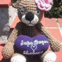 Handmade Custom Made Crochet Teddy Bear Carrying Heart Message
