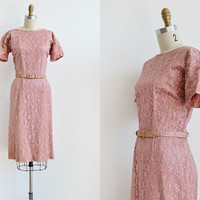 vintage 1960s dress / vintage 60s dress / vintage dusty rose pink lace wiggle 60s dress