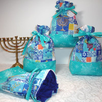 Hanukkah Chanukah Treat Gift Favor Bags Gift Wrap - Blue, White, Teal, Silver Glitter - Set of 4 Bags