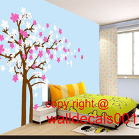 Cherry blossom wall decal tree decal flower decal  Nature room decor Wall Sticker wall art Trailing Cherry Blossom Tree