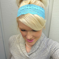 Peacock blue stretch lace headband feminine/romantic/classic