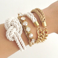 Arm candy set - Chunky chain and knot Silk Bracelet - 24k gold plated