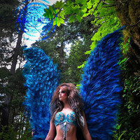 Angel Fairy Dyed Turquoise Peacock Wings by barbiemommie on Etsy