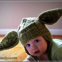 Earflap Hat, Cap Beanie All Sizes Yoda Hat  Ear Flap Hat Photo Prop Halloween Custom Green Handmade Knitted Baby Earflap Hat