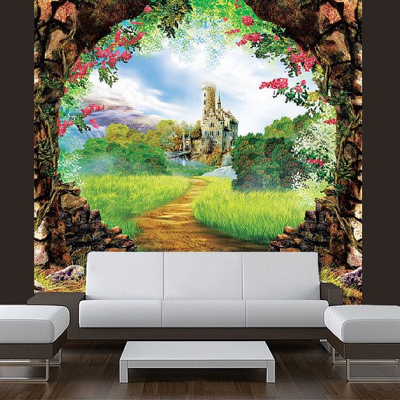 Giant sticker mural decole castle fairy from pulaton on etsy for Fairy tale mural