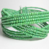Braided Cuff Bracelet Green Beaded Cuff Bracelet