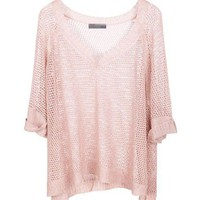 V Neckline Knit Tops with Bat-Wing Sleeves