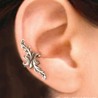 925, Double feather - solid Sterling silver ear cuff earring jewelry - non pierced earcuff  100112