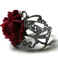 Red Rose Ring with Silver Adjustable Ring Base by robinhoodcouture