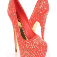 Coral Gold Faux Suede Faceted Beaded Platform Heels @ Amiclubwear Heel Shoes online store sales:Stiletto Heel Shoes,High Heel Pumps,Womens High Heel Shoes,Prom Shoes,Summer Shoes,Spring Shoes,Spool Heel,Womens Dress Shoes,Prom Heels,Prom Pumps,High Heel S