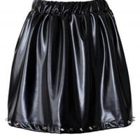 Rivet Faux Leather Black Skirt - New Arrivals - Retro, Indie and Unique Fashion