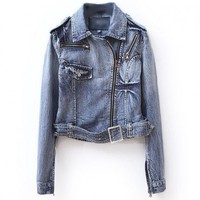 Retro Biker Denim Jackets with Buckle Detail