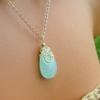 Seafoam Mint Chalcedony Necklace. Satin Gold Bubble Drop Pendant