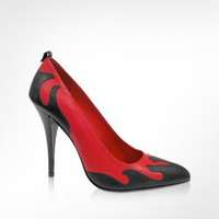McQ Alexander McQueen McQ - Red and Black Leather Pump | FORZIERI