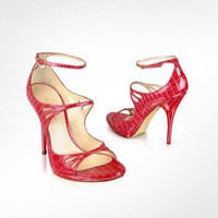 Casadei Watermelon Patent Croco Strappy Sandal Shoes | FORZIERI