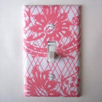 Coral Floral Lattice Single Toggle Switchplate Switch Plate