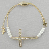 Pave Crystal Sideways Cross Bracelet Pull String Gold w/ White