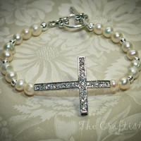 Sideways Cross Bracelet -- Rhinestone Silver Cross -- Freshwater Pearls