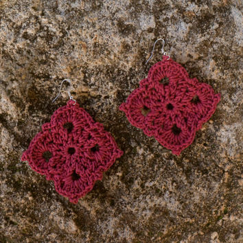Pendant Earrings, Handmade Crochet Earrings, Large Red earrings, Waxed thread earrings, Lace geometric earrings