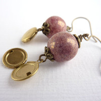 Locket Earrings, Lilac Beads, Dangle Earrings