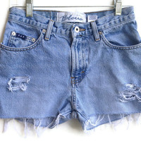 High Waisted Denim Shorts Distressed Jean Shorts Size 3-4