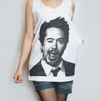 Robert Downey Jr T-Shirt Iron Man Shirt Tank Top Women Shirt Tunic Top Sleeveless Singlet White T-Shirt Sleeveless Screen Print Shirt Size M