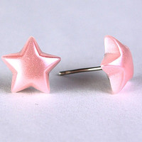 Pastel pink star stud earrings (265)