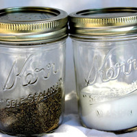 Salt and Pepper shakers -Mason Jar Salt and Pepper shakers - Glass Mason Jar - Primitive Home